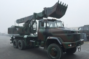 UDS-114 Telescopic Boom Excavators Based on KrAZ Off-Road Chassis