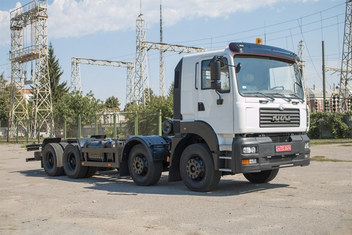 Truck chassis KrAZ-7133H4 — for fitted of dust suppression system PW-200