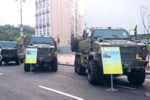 Military Vehicles KrAZ Demonstrate Power of Ukraine at Kreshchatik