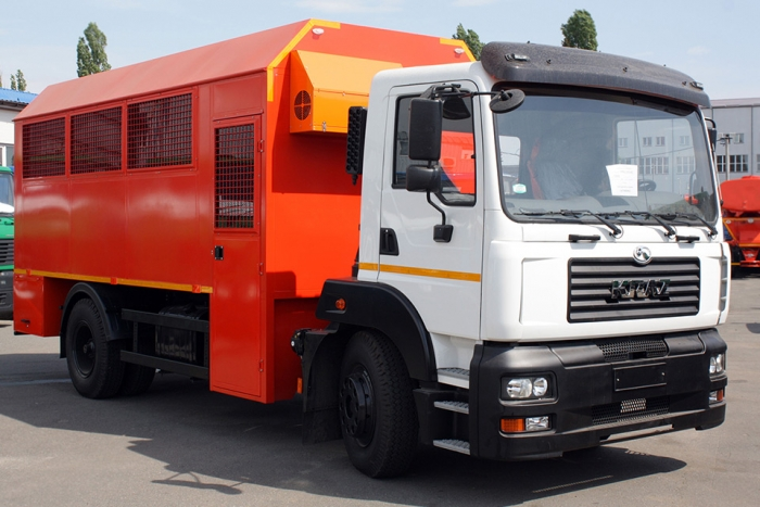 Comfortable Wagon trucks on the basis of the KrAZ-5401H2 chassis for Poltava Mining and Processing Plant