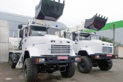 Earthmoving Equipment Mounted on the KrAZ-63221 Off Road Chassis